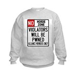 No Horde Zone Kids Sweatshirt