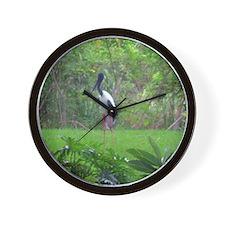 black-necked stork Wall Clock