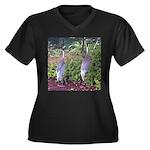 cranes Women's Plus Size V-Neck Dark T-Shirt