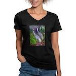 cranes Women's V-Neck Dark T-Shirt