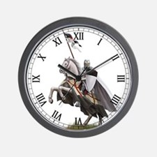 Templar on rearing horse Wall Clock