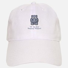 H is for Happy Hippo! Baseball Baseball Cap