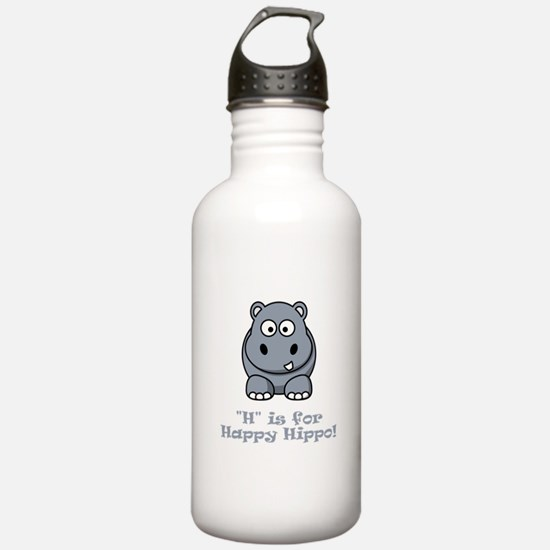 H is for Happy Hippo! Water Bottle
