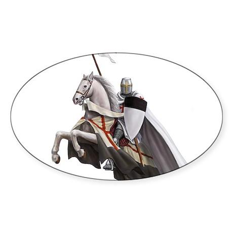 Templar on rearing horse Sticker (Oval)