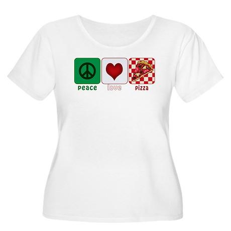 Peace Love Pizza Women's Plus Size Scoop Neck T-Sh