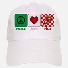 Peace Love Pizza Baseball Baseball Cap