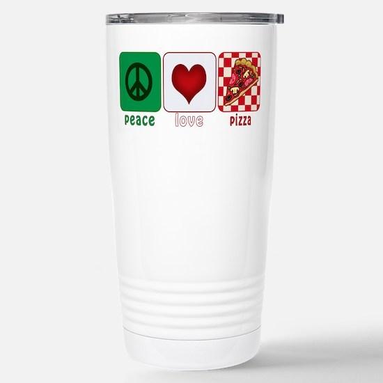Peace Love Pizza Stainless Steel Travel Mug