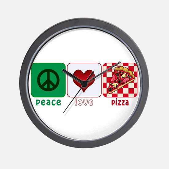 Peace Love Pizza Wall Clock