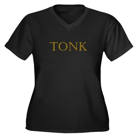 Tonk (Gold) Women's Plus Size V-Neck Dark T-Shirt