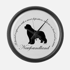 Devoted Black Newf Large Wall Clock