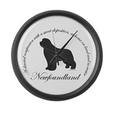 Devoted Gray Newf Large Wall Clock