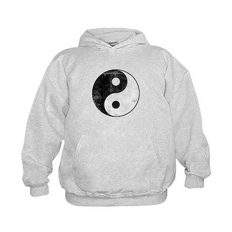 Distressed Yin Yang Symbol Kids Hoodie