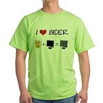 Beer + Computer Screen Green T-Shirt