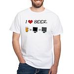 Beer + Computer Screen White T-Shirt