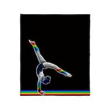Gymnast on a Rainbow Beam Throw Blanket