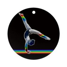 Gymnast on a Rainbow Beam Ornament (Round)