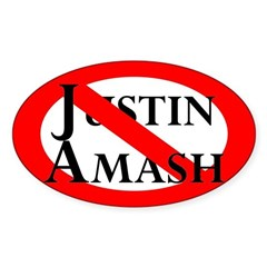 Slash Through Justin Amash Oval Car Decal