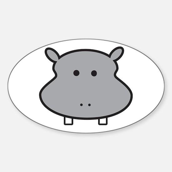 Hippo Head Sticker (Oval)