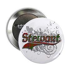 """Stewart Tartan Grunge 2.25"""" Button"""