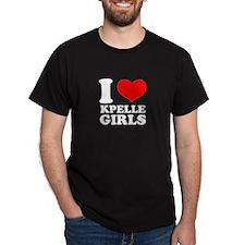 I Love Kpelle Girls Black T-Shirt