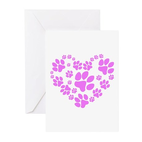 Paws Heart Greeting Cards (Pk of 10)