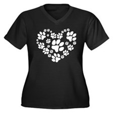 Paws Heart Women's Plus Size V-Neck Dark T-Shirt