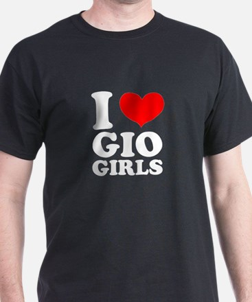 I Love Gio Girls Black T-Shirt