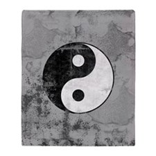Distressed Yin Yang Symbol Throw Blanket