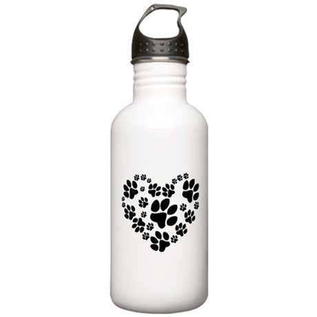 Paws Heart Stainless Water Bottle 1.0L