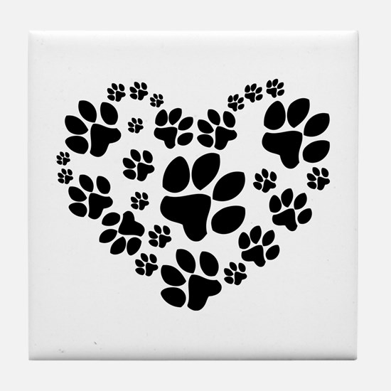 Paws Heart Tile Coaster