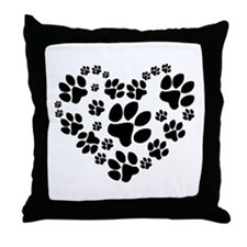 Paws Heart Throw Pillow