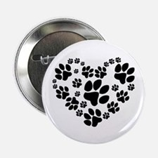 """Paws Heart 2.25"""" Button (10 pack)"""