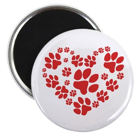 """Paws Heart 2.25"""" Magnet (10 pack)"""