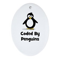 Coded By Penguins Ornament (Oval)