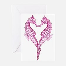 Seahorses heart Greeting Cards (Pk of 10)