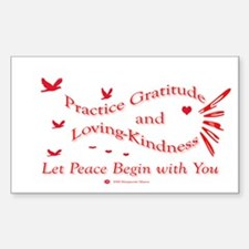 Gratitude and Loving-Kindness Sticker (Rectangular