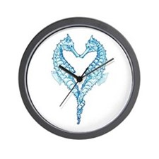 2 blue seahorses together Wall Clock