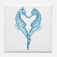 2 blue seahorses together Tile Coaster