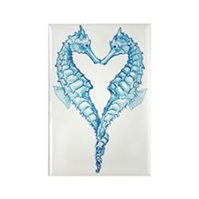 2 blue seahorses together Rectangle Magnet