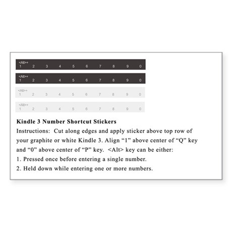 Amazon Kindle Number-Key Sticker / Label
