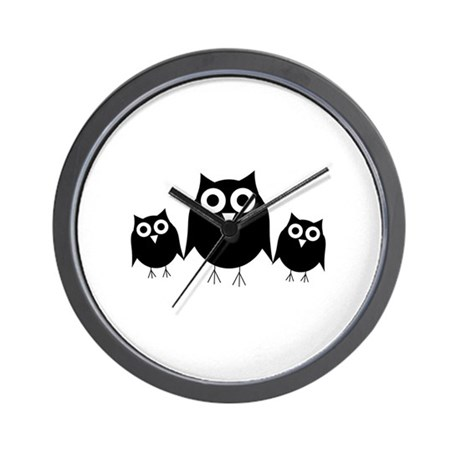 Black owls Wall Clock
