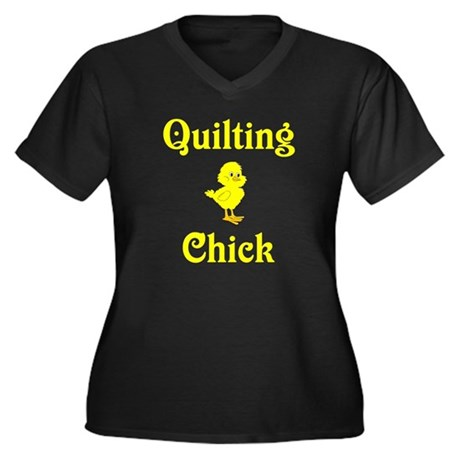 Quilting Chick Women's Plus Size V-Neck Dark T-Shi