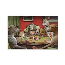 Italian Greyhound Poker Dogs Rectangle Magnet