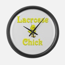 Lacrosse Chick Large Wall Clock
