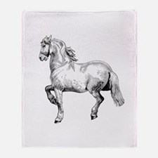 Horse Art IIlustration Throw Blanket