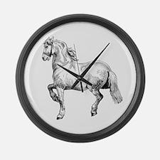 Horse Art IIlustration Large Wall Clock