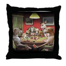 Italian Greyhound Poker Dogs Throw Pillow