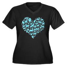 Horse Heart Art Women's Plus Size V-Neck Dark T-Sh