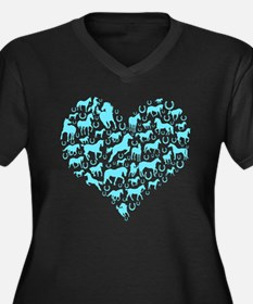 Horse Heart Art Women's Plus Size V-Neck Dark T-Sh