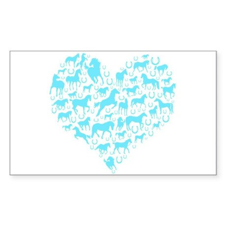 Horse Heart Art Sticker (Rectangle)
